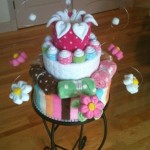 Diaper cake baby shower dots