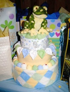 diaper cake baby shower frog hearts
